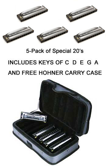 Hohner 5 Pack SPECIAL 20 Harmonicas C D E G A With FREE CASE