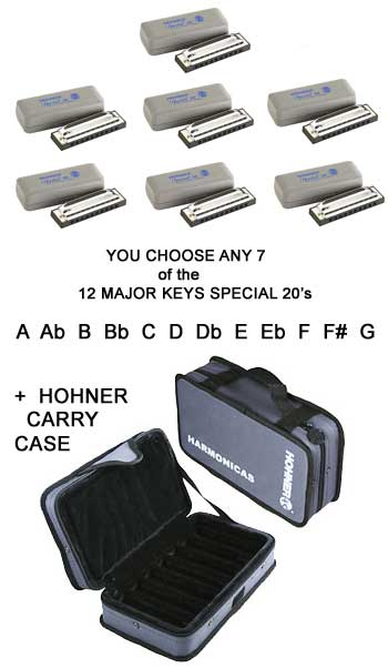 Hohner 7-Pack SPECIAL 20 Harmonicas Custom Keys With FREE CASE