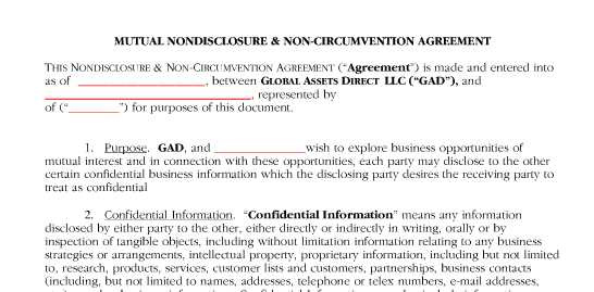 Non Circumvent Agreement Mark I Anson Property