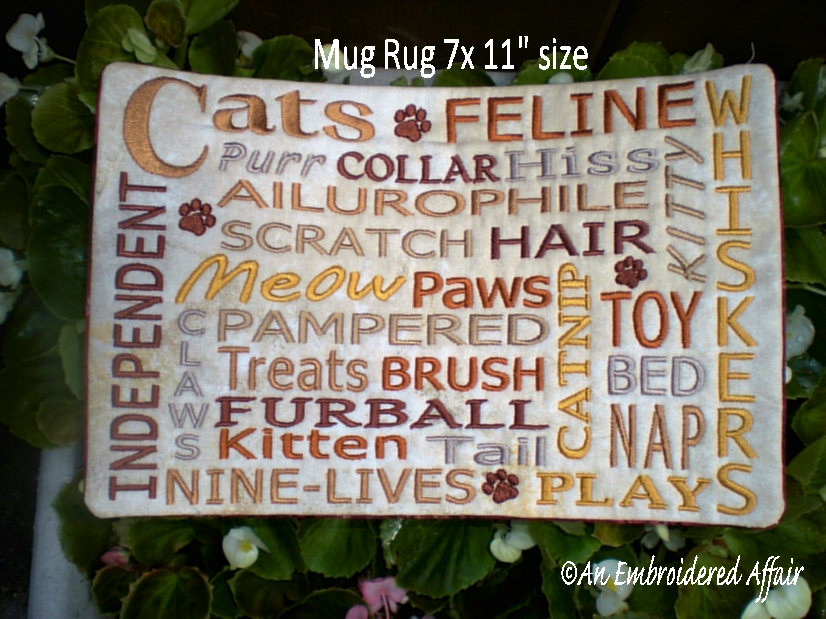 Cat Words and Mug Rugs design.