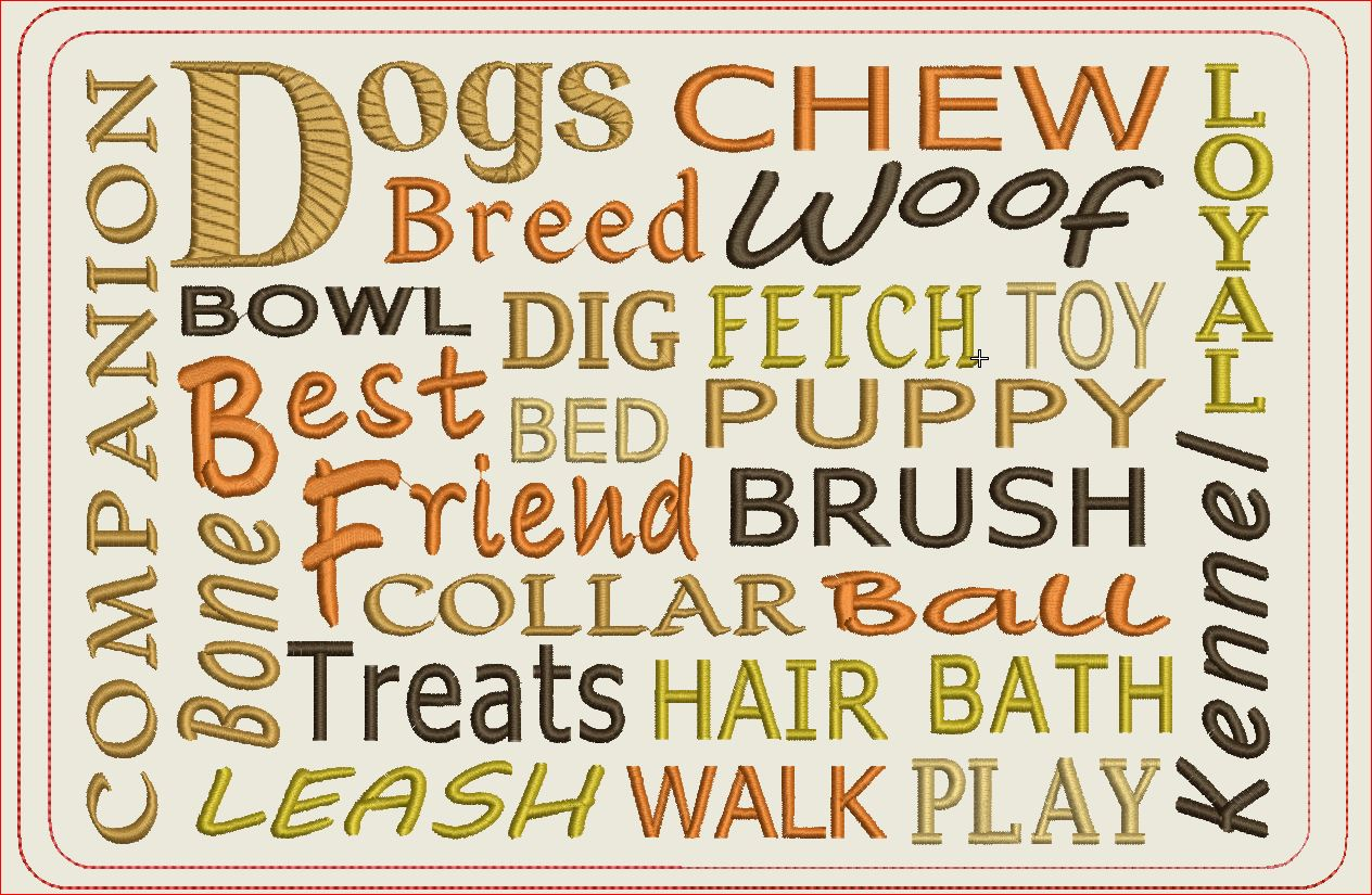 Dog Words Mug Rugs