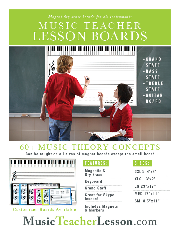 Lg Magnet Amp Dry Erase Grand Staff Music Teaching Board