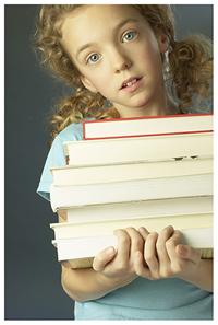Little Blond Girl (goldilocks) with a load of books (reasearching marketing)