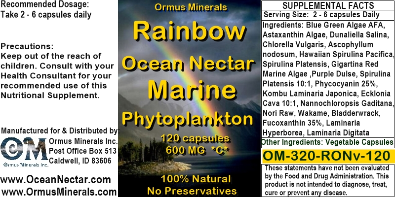 OM-320-RON-120 Ocean Nectar Rainbow Marine Phytoplankton 120 CAP Sale