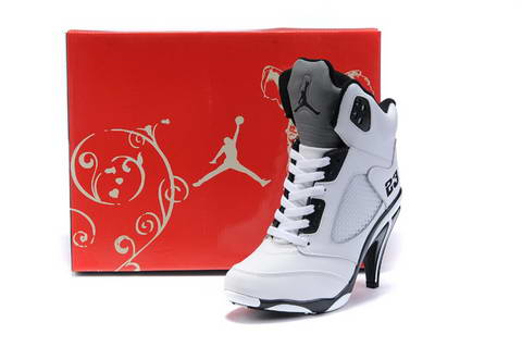 654a144d65f4 Women s Air Jordan 5 V high heel shoes black  white - World Wide ...