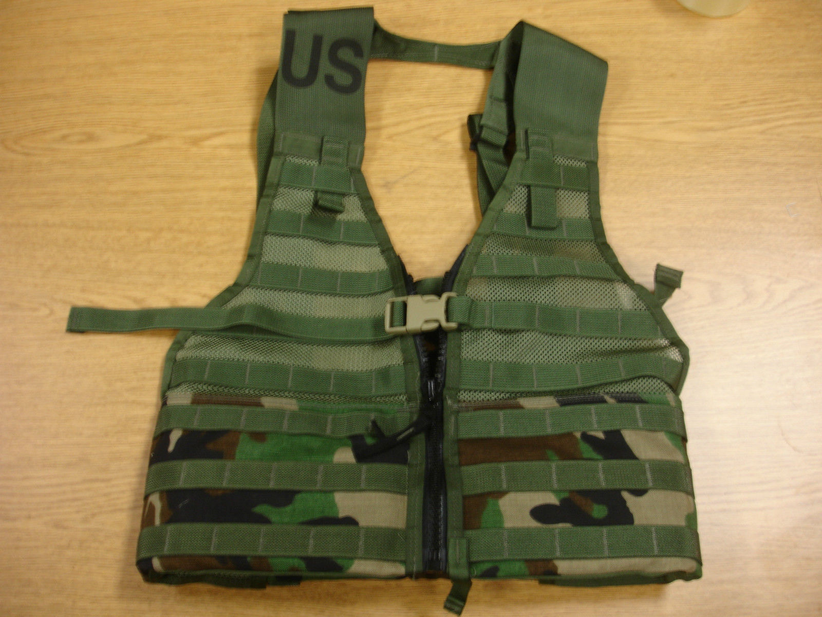 New Woodland Camo Molle Flc Vest Zippered Front Specialty