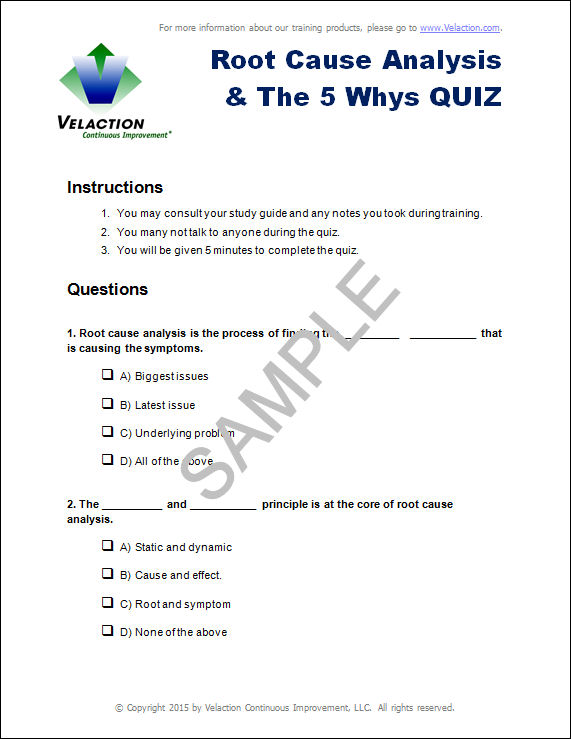Root Cause Analysis  The  Whys Quiz  Velaction Continuous