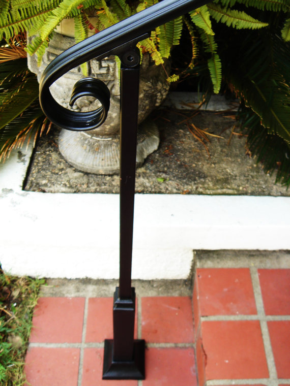 6 Ft Wrought Iron Stair Hand Rail Amp 2 Decorative Posts