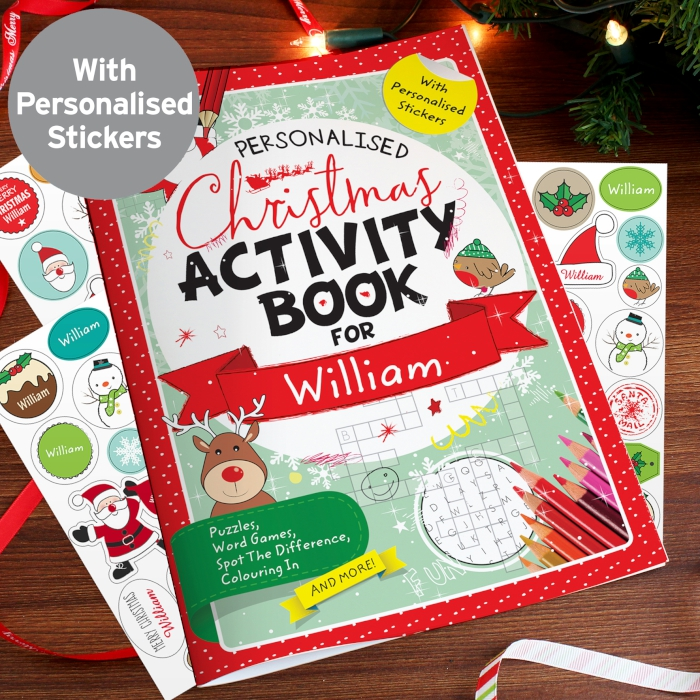Kids christmas activity book with stickers personalised gift