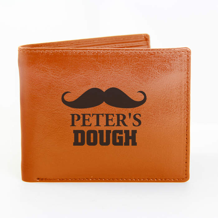 Personalised Brown Moustache Gents Leather Wallet Father39s Day Birthday Gift
