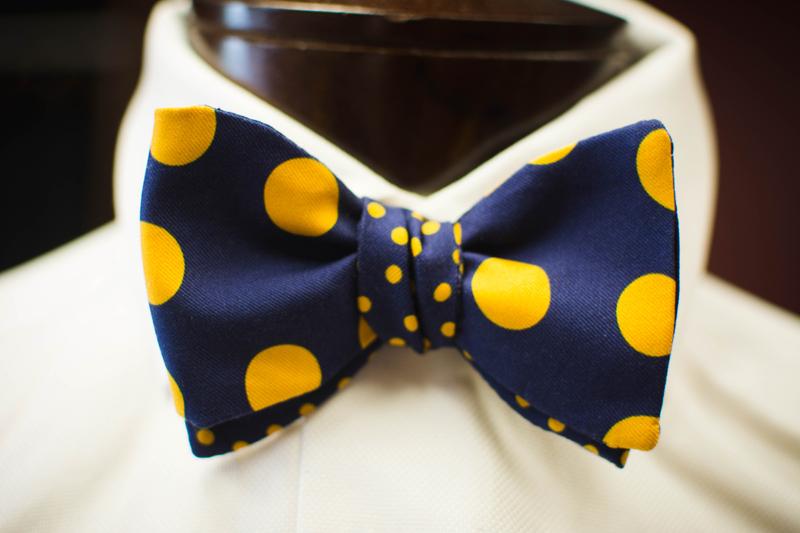 e789e5d36c30 2 in 1 Navy yellow Polka Dot Carrot & Gibbs Bow Tie - A. Smith Clothiers
