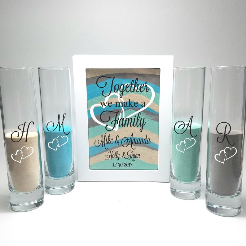 Shadow Box Blended Family Unity Sand Ceremony Set Together