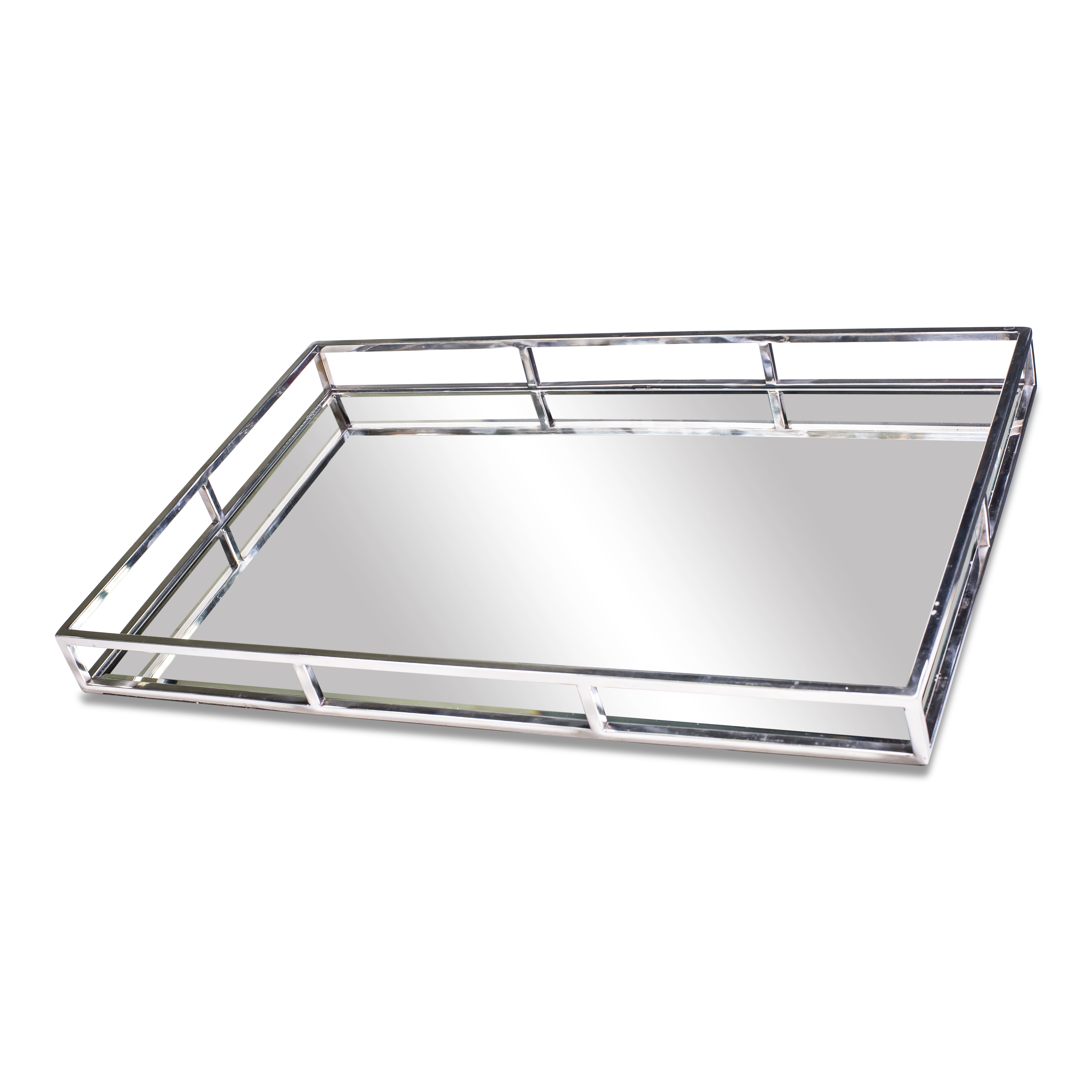 Silver Geometric Rectangles Mirrored Serving Tray