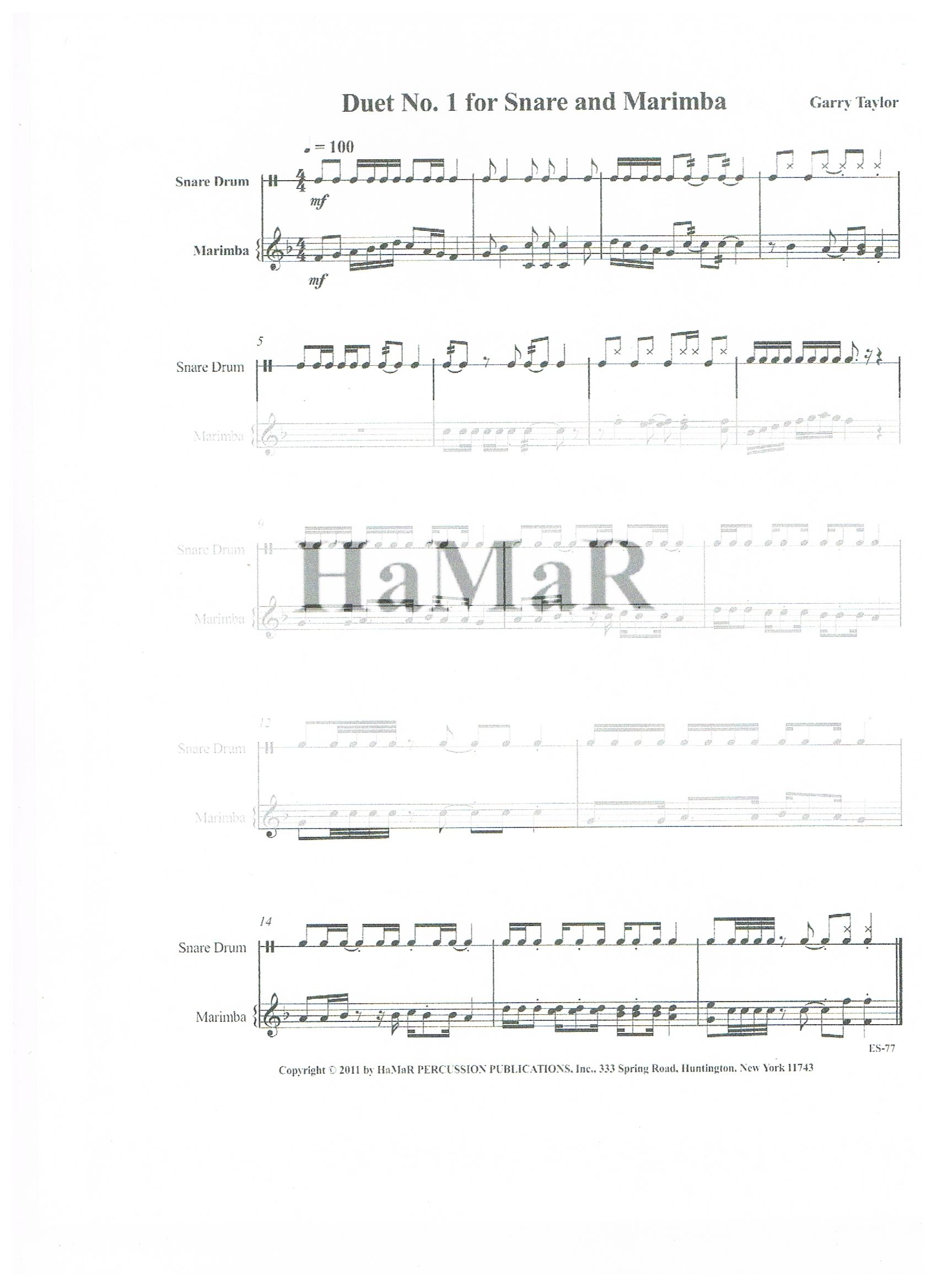 Duet No  1 for Snare and Marimba - HaMaR PERCUSSION PUBLICATIONS